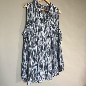 Penningtons Zebra Print Sleeveless Blouse Sz 2X